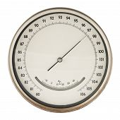 pic of meter  - Old round barometer meter isolated over white background - JPG