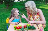 image of child feeding  - Woman mother mum feeding her girl daughter kid child with cucumber outdoors in garden - JPG