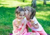 stock photo of eat grass  - Two kids girls sisters whispering eating ice cream on background of grass - JPG