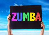 picture of zumba  - Zumba card with beach background - JPG