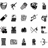 stock photo of hopper  - Set of black style vector icons for paintball equipment - JPG