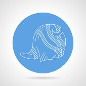 stock photo of butterfly fish  - Blue circle vector icon with white line butterfly - JPG