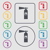stock photo of fire extinguishers  - fire extinguisher icon sign - JPG