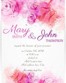 stock photo of rose  - Wedding invitation template with abstract roses on watercolor background - JPG