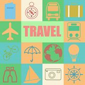 stock photo of passport template  - Travel Posters Set  - JPG
