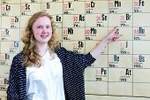 Постер, плакат: Dutch teenage girl pointing finger at periodic table