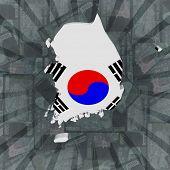 stock photo of won  - South Korea map flag on Won sunburst illustration - JPG