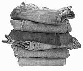 picture of denim jeans  - Stack of black denim jean on white background - JPG
