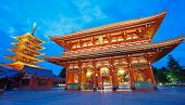 stock photo of buddhist  - Sensoji Asakusa temple Tokyo largest Buddhist temple at twilight time - JPG