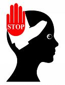 pic of spank  - Concept sign to raise awareness and action to end violence against girls and women - JPG
