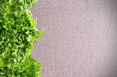 stock photo of leafy  - Side border of crisp leafy green California lettuce on a textured neutral beige linen textile with copyspace and corner vignette - JPG