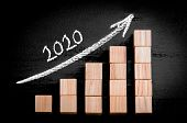 foto of ascending  - Year 2020 on ascending arrow above bar graph of Wooden small cubes isolated on black background - JPG