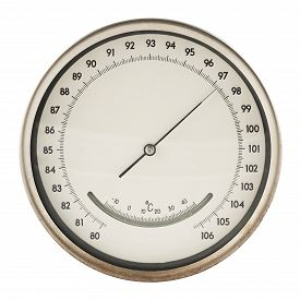 stock photo of barometer  - Old round barometer meter isolated over white background - JPG