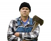 Logger With Axe  Portrait Isolated