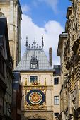 France. Normandie. Rouen. The big tower clock- Gros-Horloge