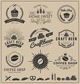 Постер, плакат: Sets of bake shop craft beer coffee shop logo