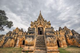 foto of nu  - Maha Aung Mye Bon Zan Monastery well known as Me Nu Oak Kyaung or the Brick Monastery was built by Nanmadaw Me Nu Chief Queen of King Bagyidaw in 1818 in Inwa ancient cityMandalay StateMyanmar - JPG