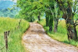 pic of cade  - Impressionist art of the early morning along Sparks Lane A gravel road leading throught Cades Cove in the Great Smoky Mountains National Park Tennessee United States - JPG