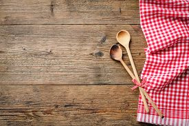 stock photo of recipe card  - Kitchenware on wooden table with a red checkered tablecloth - JPG