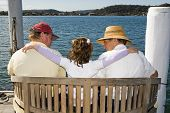 Family Sitting On The Water Edge
