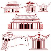 Chinese Traditional Outlined Buildings