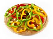 pepper rings on wood