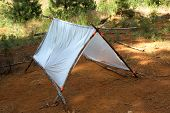 image of gaffer tape  - temporary survival shelter made from large clear plastic bags gaffer - JPG