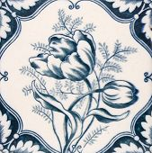An Art Nouveau original tile dating around 1890 with tulip flower design