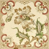 A hand coloured Victorian period aesthetic design architectural tile