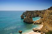 Section of the idyllic Praia da Marinha beach, Algarve, Portugal