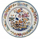 An antique early 19th century Staffordshire plate with exotic Chinoiserie design - genuine antiques series