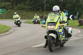 TELFORD, UK - SEPTEMBER 10: Tour of Britain Cycle Race - Police Stop the Traffic as the Riders Come