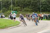 TELFORD, UK - SEPTEMBER 10: Tour of Britain Cycle Race - Lead Pack of Nine Riders with Chase Crew Du