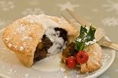 Christmas mince pie with cream