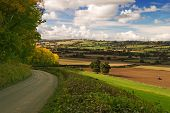 Autumn view over Shropshire from Hughley, UK