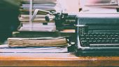Постер, плакат: Typewriter Antique Vintage Style And Old Documents