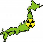 Radiation sign on map of Japan