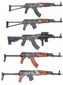 Well known AK-47 kalashnikov assault rifles collection