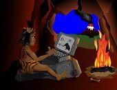 De computer weet zelfs holbewoners zitten rond het vuur