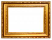 Gold frame with clipping path over white background