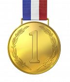 Gold medal of honor with numbers.