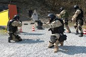 stock photo of anti-terrorism  - police unit in training tactical shoting - JPG