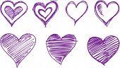 sketchy hearts Vector Illustration