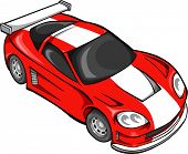 Red Street Car Racer Vector Illustration