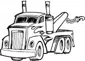 stock photo of tow-truck  - Vector Illustration of a Sketchy Tow Truck - JPG