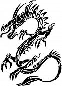 Tribal Tattoo Dragon Vector Illustration