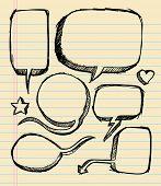 Notebook Doodle esboço fala bolha Vector conjunto de ilustração