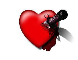stock photo of broken-heart  - High Resolution 3D Illustration Stabbed Heart on White - JPG