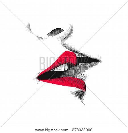 Kiss Sketch Vector Illustration Hand