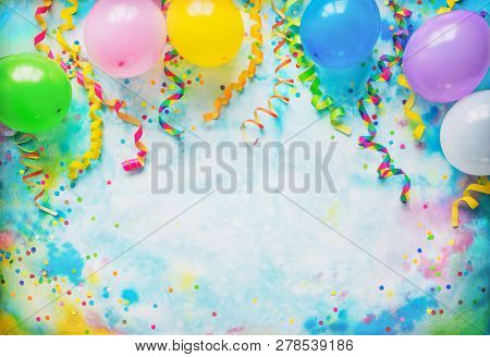 poster of Festival, carnival or birthday party frame with balloons, streamers and confetti on colorful backgro
